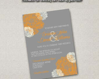 Printable Wedding Invitation ONLY PDF Instant Download - Autumn Orange on Gray Floral Pattern (Choose Your Text Colors!)