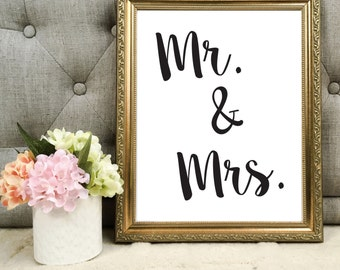 "Instant Download PDF Template - ""Mr. and Mrs."" Table Sign - (Black & White OR Your Colors!)"
