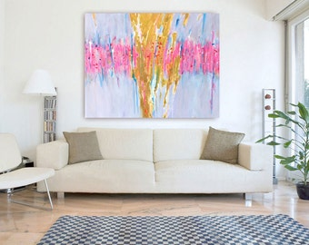 Abstract Art Gold, Abstract Painting Pink Gold, Abstract Large Art, Large Abstract Painting, Pastel Abstract Art, Drip Painting Custom