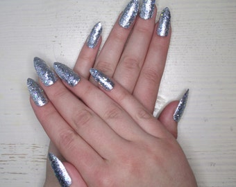 Silver Rainbow Holographic Stiletto Nails