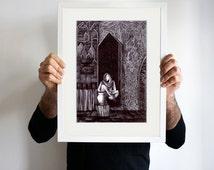 Intezaar II (Waiting II), original art, pen and ink drawing, framed art, black and white, seated woman in fantasy art