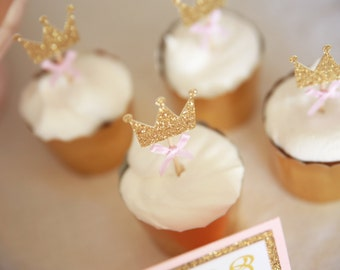 Princess Cupcake Topper, Gold and Pink First Birthday, Gold Cupcake Topper