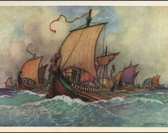 Clipper Ships by Warwick Goble Collection of Early1900's Vintage Art Reprint Print, Home Decor, Living Room or Office Perfect Gift