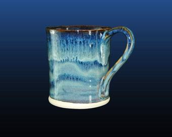 Coffee mug, unique coffee mug, pottery mug, unique coffee cup, 12 oz, hand thrown mug, pottery mugs with blue glaze. Price is for one cup