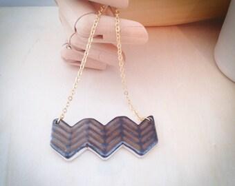 Ceramic Geometric Necklace, Metalic bronze, Gold Chain