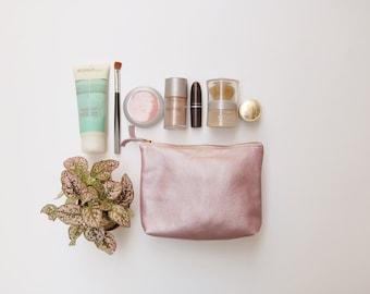 Leather makeup bag, Leather purse, pink makeup case, makeup bag, wedding clutch, crossbody bag, small leather bag, makeup storage