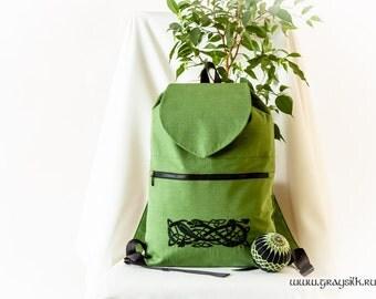 Celtic Linen Daypack / Backpack With Flap - Celtic Pattern