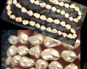 Large Faux Knotted Pearl Necklace