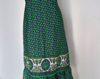 Clearance SALE (from USD52.-) Boho..Vintage Green long cotton Dress with  Flower embroidery (DS-210)