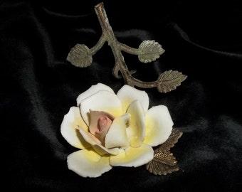Vintage Yellow Rose of Texas Porcelain Flower Brass Stem Leaves Sculpted