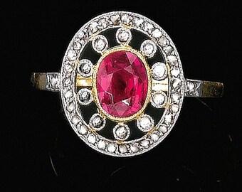 Unique Edwardian Engagement Ring 'Mirabeau' Ruby Diamond Halo Engagement RING  rose white gold conflict free diamonds Ruby Engagement Ring