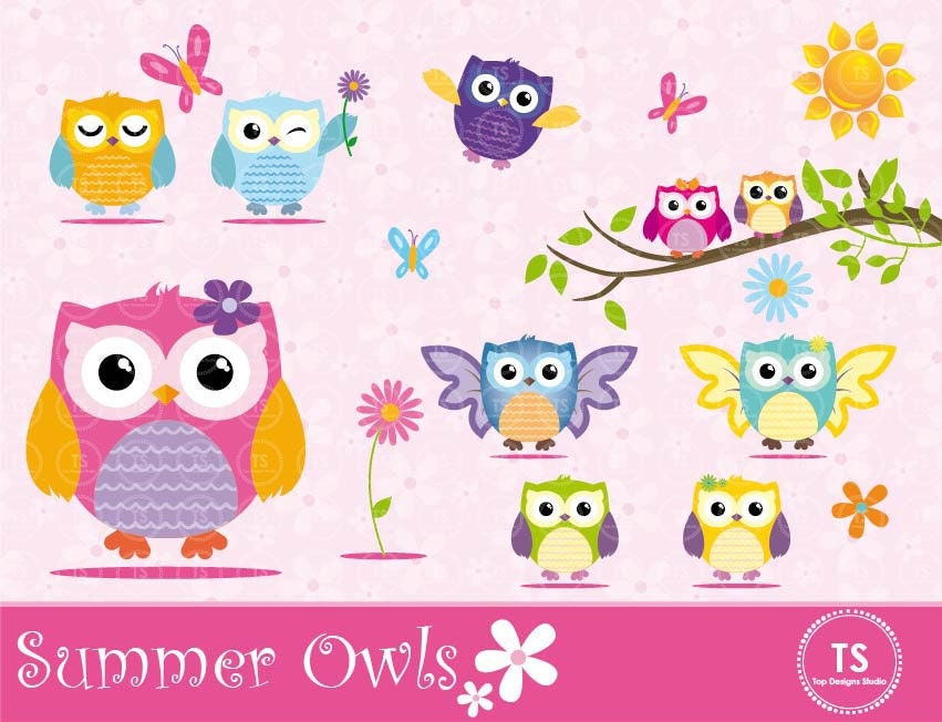 "Owl Clipart - ""CUTE OWLS CLIPART"", Summer Owls Clipart ..."