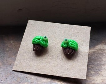 Zombie cupcake post earrings (polymer clay)