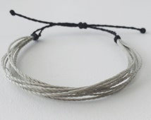 Brain Cancer Grey Waxed Polyester Cord Bracelet- 9 Strands