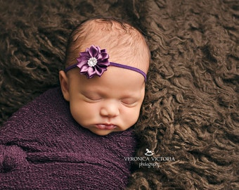 Amethyst Baby Headband, Purple Baby Headband, Purple Flower Headband, Newborn Baby Headband, New Baby Gift, Baby Girl Gift, Baby Shower Gift