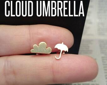 Gold Umbrella and Cloud Stud Earrings, Umbrella Cloud Earrings, Umbrella Cloud Jewelry, Umbrella Studs, Weather Earrings, Weather Studs