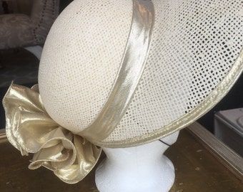 Vintage Straw Hat with Gold Ribbon & Bow