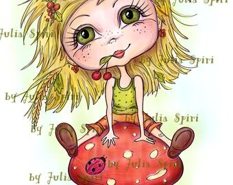 Digital Stamps, Girl stamps, Mushroom, Digi stamp, Scrapbooking printable, Coloring pages, Line Art, Crafting. Girl with mushroom