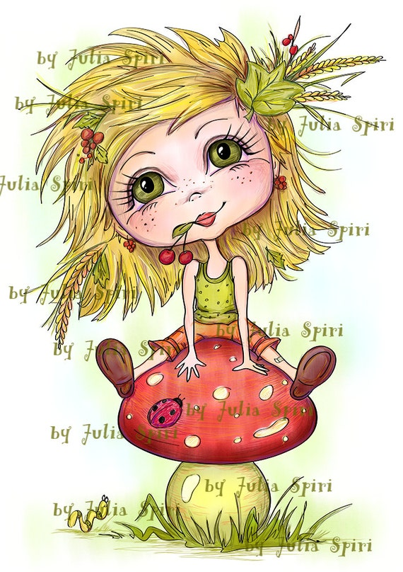 Digital Digi Stamps, Girl stamps, Scrapbooking printable, Coloring pages, Digi, Line Art. Girl with mushroom