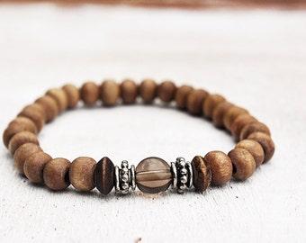 Sky and Mud Unique Gemstone and Wood Bead Bracelet