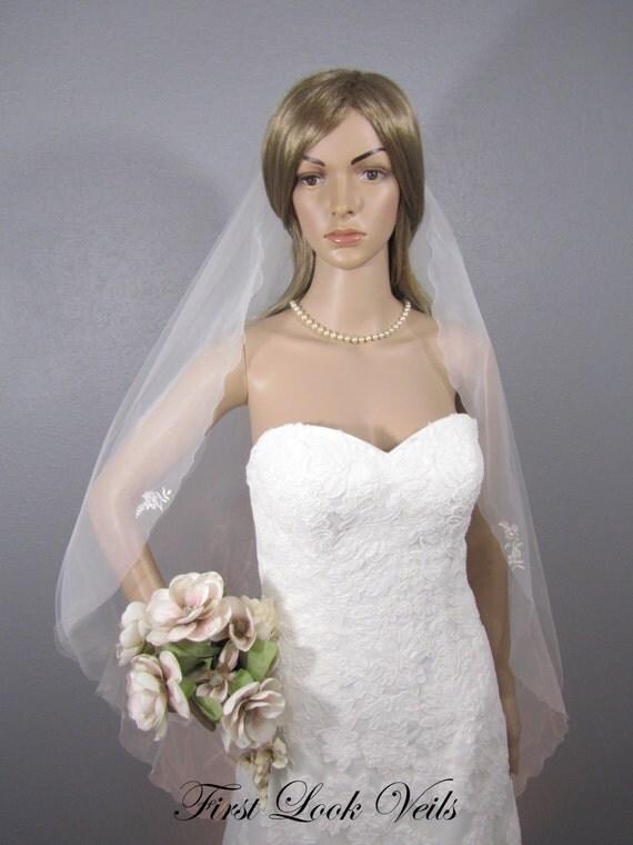 Ivory Wedding Veil, Bridal Fingertip Veil, Two Layered Veil, Floral Veil, Pick Ups, Lace Veil, Crystals, Bling, Full Veil, Wedding Vail