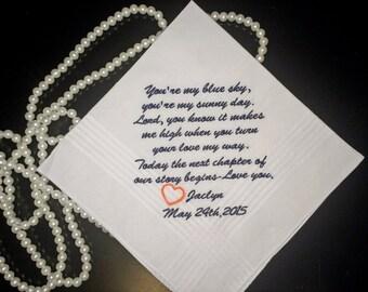 Embroidered Wedding Handkerchief,Hankerchief, Embroidered, Wedding Hankerchief, For the Groom By: MemoriesMadeApparel