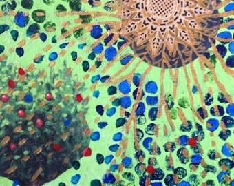 "Mixed Media Collage Art, ""Sun Bathing Duck"""