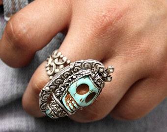 Skull Ring, Sugar Skull Ring, Skull Jewelry, Skull, Gothic Ring, Statement Ring, Silver Skull Ring, Day of the Dead, Mexican Skull, Colorful