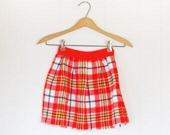 Girls Plaid Skirt // Size 5, 6, 7 Girls Vintage Plaid Skirt // Vintage Red Plaid Tartan Skirt for Girls