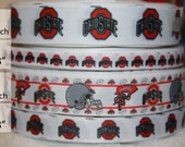 """Ohio state BUCKEYES inspired college football  grosgrain ribbon-your choice 1"""", 3/8"""", 1"""" or 5/8""""R77CF"""