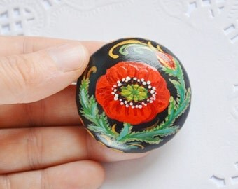 black Red poppy brooch Flower Jewelry natural jewelry Floral pin romantic Gift Ideas ecofriendly Jewelry Boho Brooch handmade pin colorful