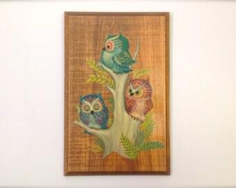 Vintage K Chin Owls Decoupage Wooden Wall Art