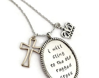 "hand stamped necklace ""old rugged cross"""