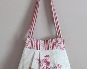 Pleated Shoulder Handbag, Red and Beige Floral, Small