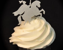Knight, Medival, Horse, Edible Cupcake Topper, Cake Topper, Edible, Wafer Paper, Sparkle Dusted, choose amount from menu, READ Item Details