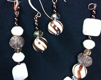 Brown, tan and wire bracelet & earring set