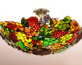 Tiffany grapes ceiling light. Colorful plafond. Grapes plaffonier. Pendant lampshade. Stained glass handmade light.
