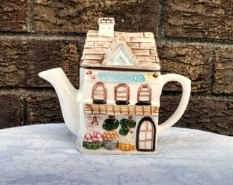 """Vintage Teapot, """"Green Grocer"""" Cottage Ware, English Cottage, Small Teapot, Collectible"""