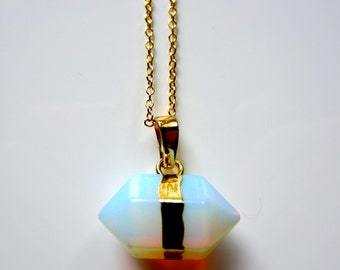 Semi Precious Prism Moonstone / Opalite Crystal Pendant on Gold Fine Chain Necklace