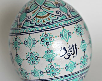 Custom Hand Painted Henna Inspired Ostrich Egg