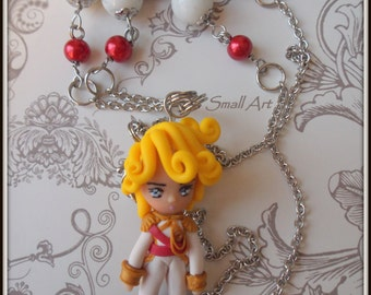 MADE TO ORDER Lady Oscar fan-art polymer clay long necklace completely handmade modeled with glass beads and metal parts in stainless steel