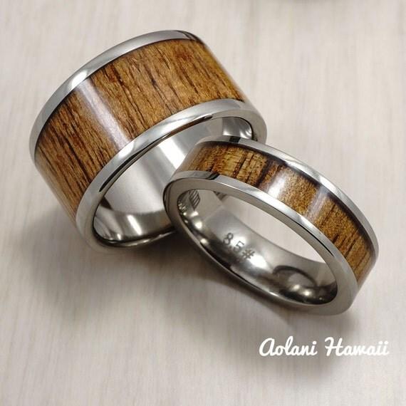 titanium wedding band set with hawaiian koa wood inlay