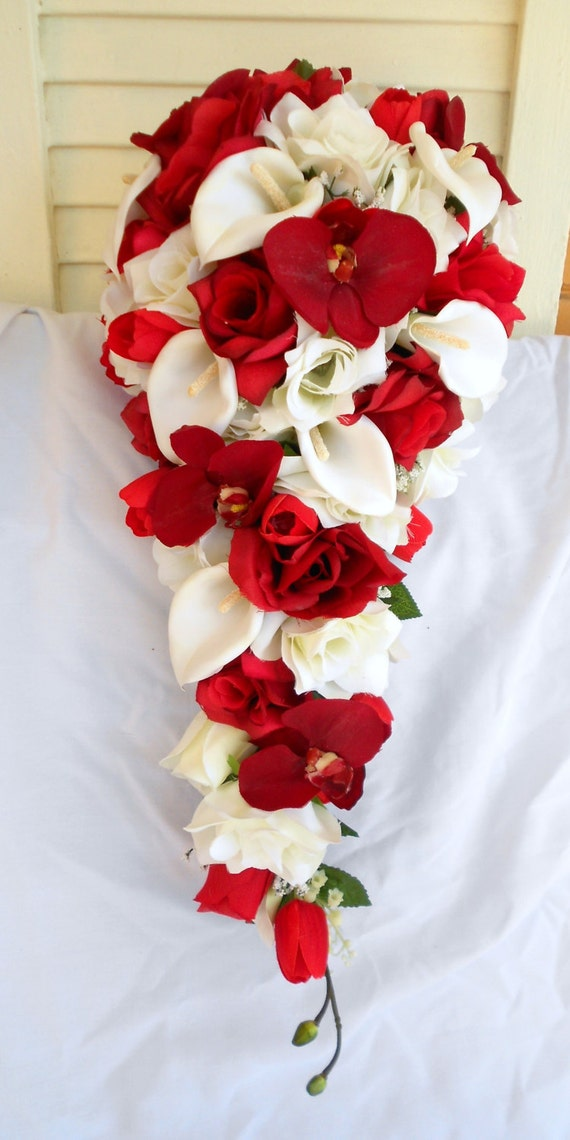 Red orchids silk cascade bouquet with ivory roses and calla lilies