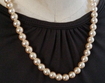 Faux Pearl Rose-Tinted Glass Bead Crystal Accent Vintage Necklace Wedding Costume Jewelry