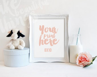 8x10 white frame / Nursery styled stock photography / Instant download / vertical frame mockup / #0719