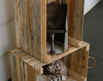 Stacking Rustic Wood Crate - Handmade