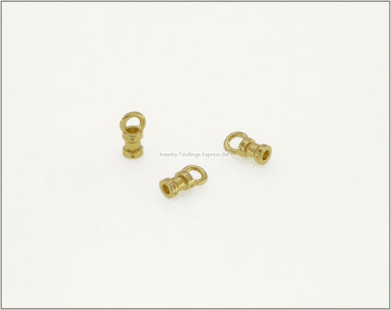 10 pc.+  1.5mm Crimp End Cap, Crimp Ends, Cord Ends for Leather Cords & Chains - Gold Plating