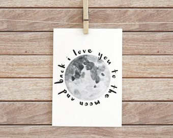 Printable Valentine's Day card - I love you to the moon - 5x7 - Instant download