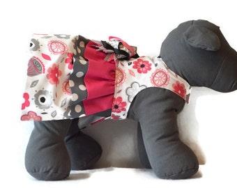 SASSY GIRL, Dog Dress, Pink Dog Dress, Dog Harness Dress, Small Dog Harness, Flower Dog Dress, Dog Clothes, Harness Dress, Polka Dot Dress