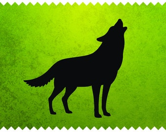 Howling Wolf Design - svg - ai - dxf - cdr - pat - jpeg - png - pdf - wmf - docx - Printable Clipart - Iron on Transfer -  Laser Engraving